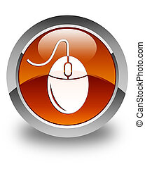 Mouse icon glossy brown round button