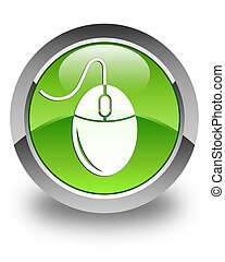 Mouse icon glossy green round button