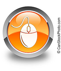 Mouse icon glossy orange round button