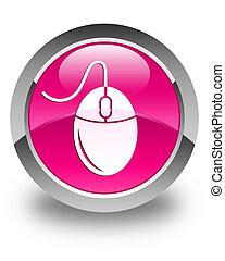 Mouse icon glossy pink round button
