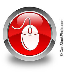 Mouse icon glossy red round button