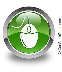 Mouse icon glossy soft green round button