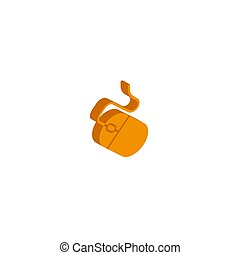 Mouse Icon on Square Black Internet Button Original Illustration