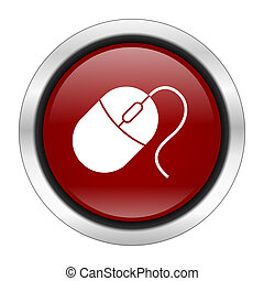 mouse icon, red round button isolated on white background, web design illustration