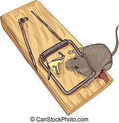 Mouse in a mousetrap. Vector illustration.