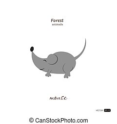 Mouse in cartoon style on white background.