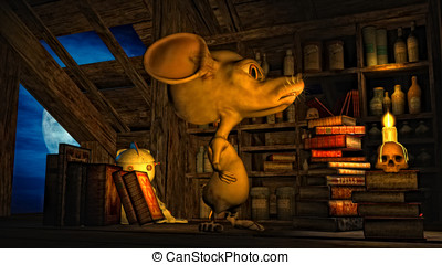 Mouse in the attic - Scary mouse in the attic. A bookshelf...