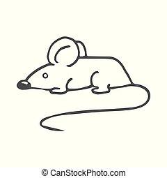mouse., isolado, ilustração, experiência., vetorial, branca, caricatura