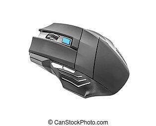 mouse., laser, gamers, drahtloser computer, schwarz