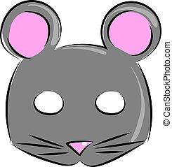 Mouse mask, illustration, vector on white background.