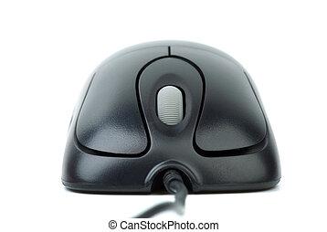 mouse nero, ottico, metallico, moderno