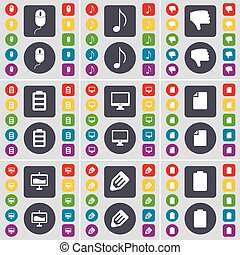 Mouse, Note, Dislike, Battery, Monitor, File, Graph, Pencil icon symbol. A large set of flat, colored buttons for your design. Vector