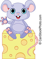 Mouse on cheese - Funny mouse sitting on the piece of cheese
