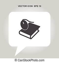 mouse on the book vector icon