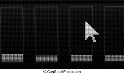 Mouse pointer and monochrome equalizer on the computer screen close-up