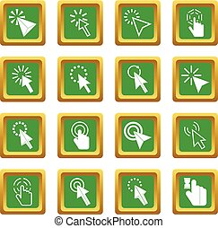 Mouse pointer icons set green - Mouse pointer icons set in...