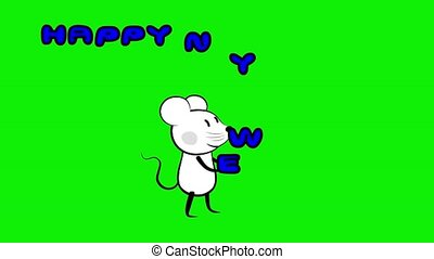 Mouse rat juggling new year sign green screen
