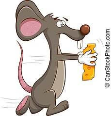 Mouse runs off with piece of cheese in his hands.