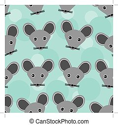 Mouse Seamless pattern with funny cute animal face on a blue background