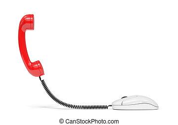 mouse., serviço, telefone, computador, comm, conectado, vermelho, reciever