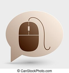 Mouse sign illustration. Brown gradient icon on bubble with shadow.