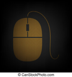 Mouse sign illustration. Icon as grid of small orange light bulb in darkness. Illustration.