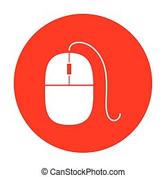 Mouse sign illustration. White icon on red circle.