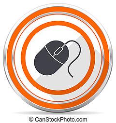 Mouse silver metallic chrome round web icon on white background with shadow