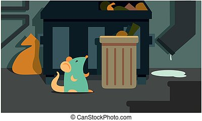 mouse sits in the garbage can. urban landscape. vector illustration
