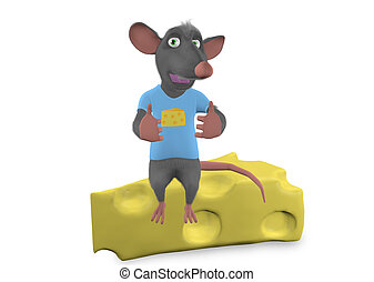 mouse sitting above a cheese on white background