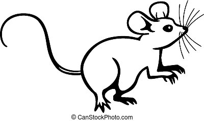 Mouse sitting up - vector line drawing of a mouse sitting up...