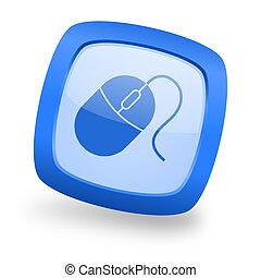 mouse square glossy blue web design icon