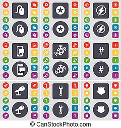 Mouse, Star, Flash, SMS, Speaker, Hashtag, Microphone, Wrench, Police badge icon symbol. A large set of flat, colored buttons for your design. Vector