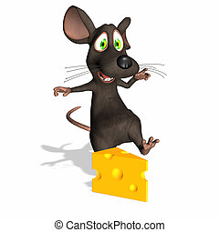 Mouse - Swiss Cheese - A toon mouse going for a piece of...