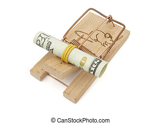 mouse trap and dollar - close up of mousetrap and dollars on...