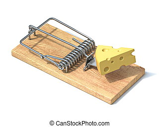 Mouse trap with cheese 3D