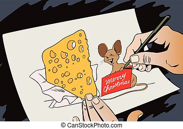 Mouse with a huge piece of cheese for Christmas. Hand paints picture