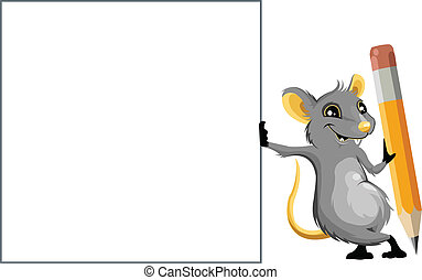 Mouse with a pencil and text box