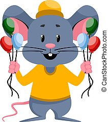 Mouse with balloons, illustration, vector on white background.