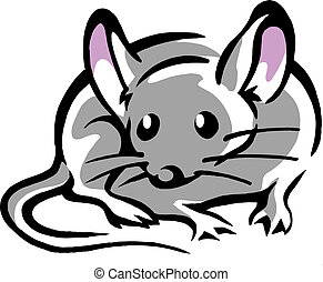 Mouse with big pink ears - Handdrawn vector illustration
