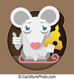 Mouse With Cheese In A Paper-style Foot. Vector Illustration For Your Design
