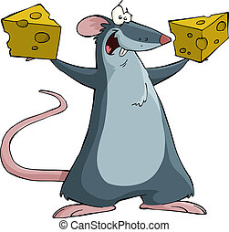 Mouse with cheese - Mouse on a white background, vector...