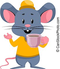 Mouse with coffee, illustration, vector on white background.