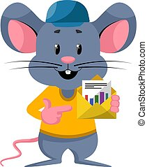 Mouse with envelope, illustration, vector on white background.