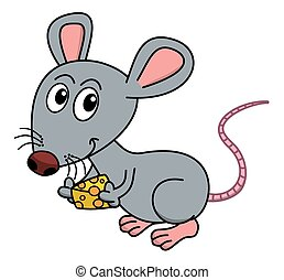 mouse with his piece of cheese
