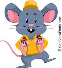 Mouse with ice cream, illustration, vector on white background.