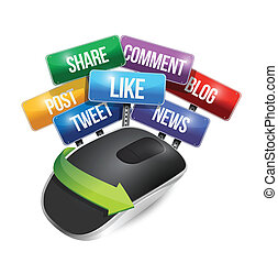 mouse with social media signs illustration design over a...