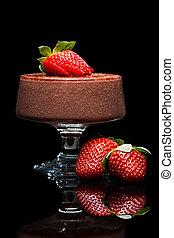 mousee, dessert, fraises, chocolat