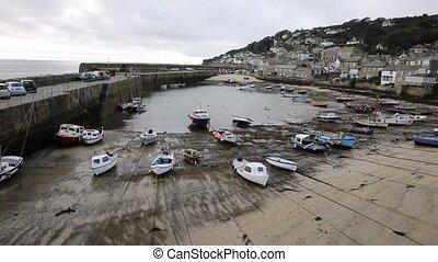 Mousehole harbour Cornwall England UK Cornish fishing...
