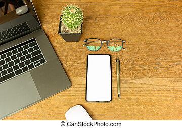 mouses., ufficio, cima, laptop, computer penna, scrivania, occhiali, vista